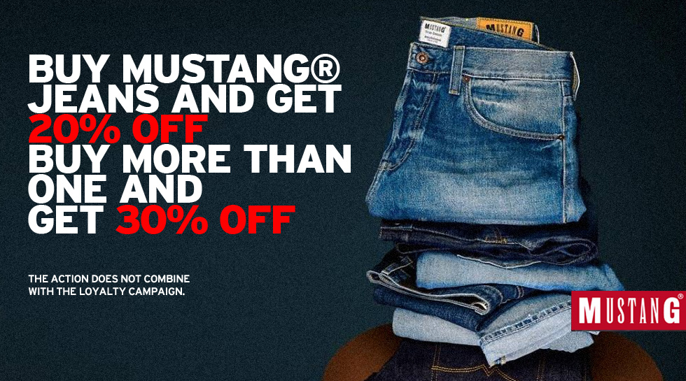 Mustang® Jeans discount from 20% to 30% on trousers