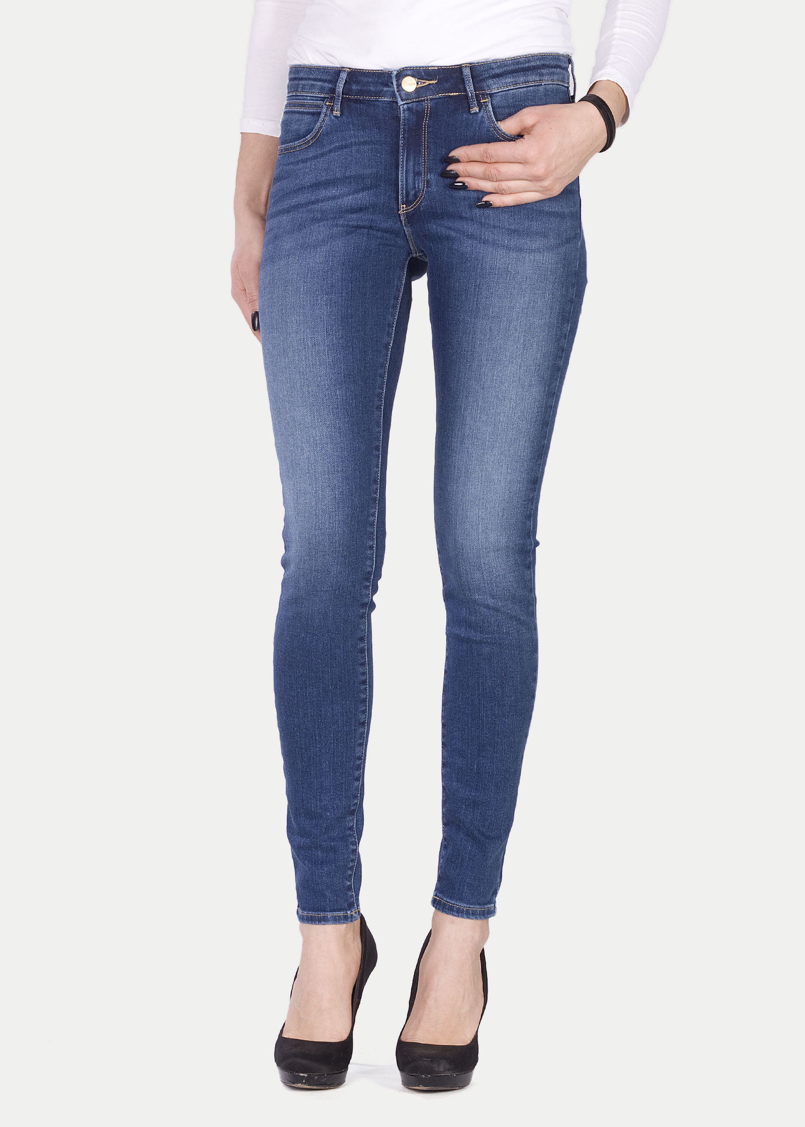 super cheap great discount for vivid and great in style Womans Jeans Wrangler Skinny - Authentic Blue