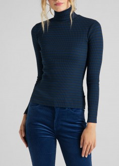 Lee® Long Sleeve Striped Rib Tee - Washed Blue (L40SYLLR)