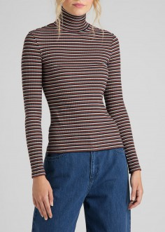 Lee® Long Sleeve Striped Rib Tee - Burnt Ocra (L40SYLOM)