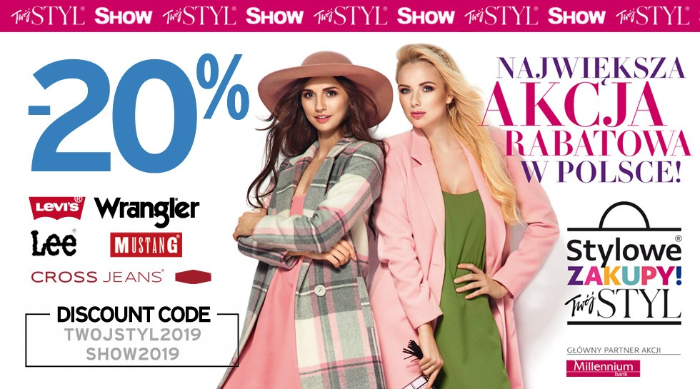 Stylish Shopping 2019 up to -20% on Wrangler®, Mustang®, Lee® and Levi's®