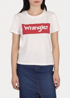 Wrangler® Logo Tee - Off White / Red (W7P3EV737)